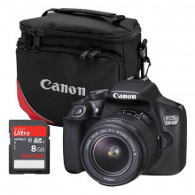 Canon EOS 1300D DSLR, EF-S 18-55mm f/3.5-5.6 DC lens, 8GB SanDisk SD Card & Camera Bag