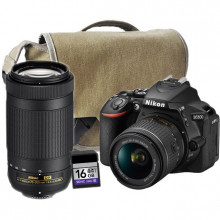 Nikon D5600 DSLR with AF-P 18-55mm DX ED II & AF-P 70-300mm ED DX Lenses | Bag & 16GB SD Card included