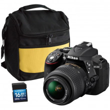 Nikon D5300 with 18-55mm DX Lens, Bag & 16GB SD Card
