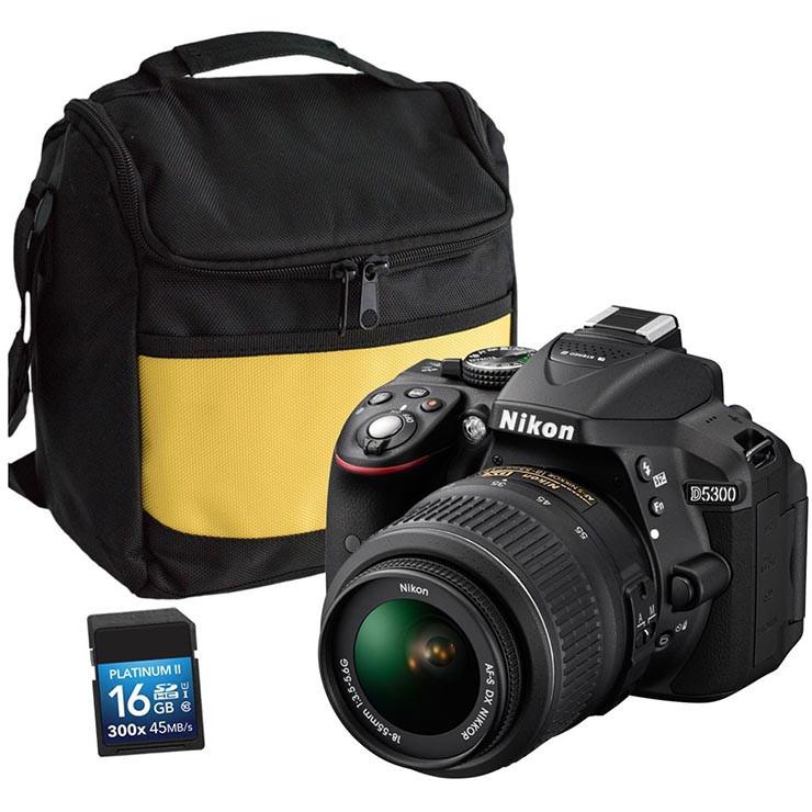 Nikon D5300 with 18-55mm DX Lens, Bag & 16GB SD Card