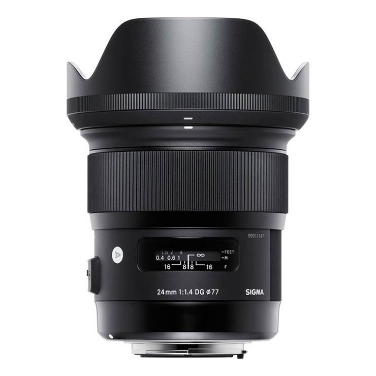 Sigma 24mm f1.4 DG HSM Art for Nikon with lens hood