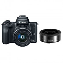 Canon EOS M50 Mirrorless  with 15-45mm Lens + 22mm Lens (Black)