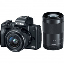 Canon EOS M50 Mirrorless  with 15-45mm Lens + 55- 200mm Lens (Black)