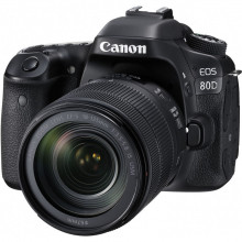 Canon EOS 80D DSLR with 18-135mm f/3.5-5.6 IS STM Lens Front 1
