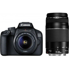 Canon EOS 4000D DSLR + EF-S 18-55mm DC III & EF 75-300mm f/4-5.6 III