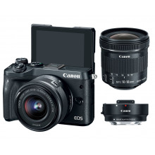 Canon EOS M6 with 15-45mm + EF-EOS Adapter + EF-S 10-18mm Lens