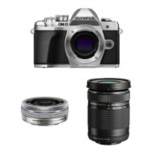 Olympus OM-D E-M10 Mark III Pancake Double Zoom Kit | Silver
