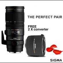 Sigma 70-200mm F2.8 EX DG OS HSM (Nikon) + Free 2x Converter