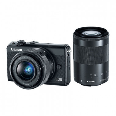 Canon EOS M100 Mirrorless Camera with 15-45mm and 55-200mm Lenses (Black)